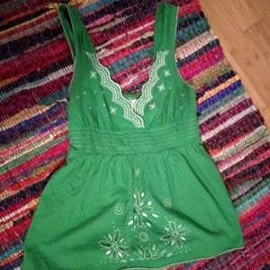 Size Large Empire Waist Embroidered Summer Tank